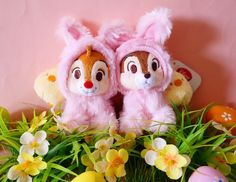 2015 Easter Bunny Disney store Japan Chip Dale Baby Chick plush key chain New