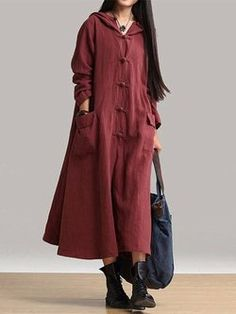 Vintage Buttoned Solid Swing Maxi Dress