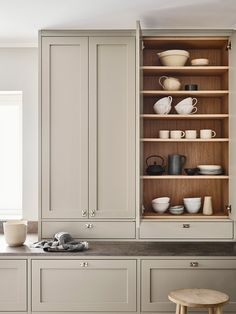 A Sneak Peak Inside our Shaker Cabinets Nordiska Kök - Scandinavian shaker kitchen in a timeless design. A grey kitchen island with wooden insides. Home Kitchens, Kitchen Design, Kitchen Renovation, Interior, Kitchen Interior, Shaker Kitchen, House Interior, Beige Kitchen, Nordic Kitchen
