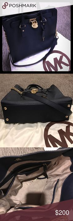 Michael Kors navy Hamilton bag  Gorgeous navy blue Hamilton bag by Michael Kors. Gold chain and lock details- original dust bag included! Michael Kors Bags Totes