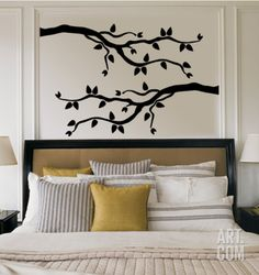 Black Branch With Leaves Wall Decal at Art.com