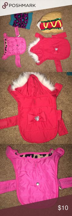 XXS Pet Clothing Bundle Two winter coats: one pink with leopard fleece interior, one red with white fur hood and gem emblem (both lightly used). One purple and blue leopard sweater (lightly used) and one hotdog Halloween costume- (still New with tags) Sweaters