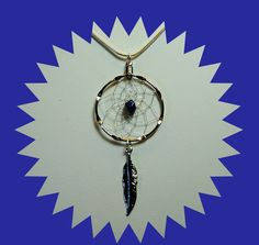 Silver Dreamcatcher Necklace with Lapis Chip and Feather, medium size, Native American style, tribal, Lapis necklace, silver and blue by OriginalsByCathy on Etsy