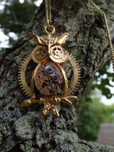 Steampunk owl necklace by Hiddendemon-666.deviantart.com on @deviantART