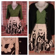 Max Studio green faux wrap shirt XS $9; Twenty One black off white floral pleated skirt M $10; Bloom black cardigan rainbow buttons M $11