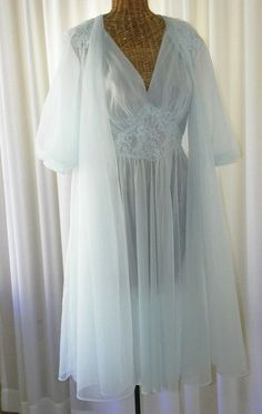 Blue 2 Layers Babydoll Nightgown 1960s Nightgown Short Nightgown 44 Bust Sheer Nightgown Double Chiffon Nightgown Nylon NIGHTGOWN