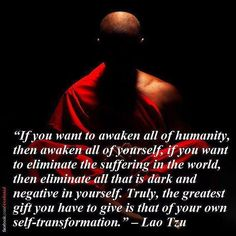 The greatest gift we can give to the world is that of our own self transformation. The more we transform our negative and ego centered habits into actions of love joy and compassion the more we transform the world around us to live in this state as well. We often fail to realize just how much influence we have on the world but the more we seek to purify our own nature the more we purify all of humanity.  by conscious_collective