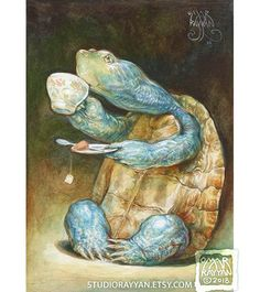 Savoring the Sip (pr Savoring the Sip (print) turtle art tea time relax tortoise animal artwork illustration Tortoise Turtle, Turtle Love, Sea Turtle Art, Sea Turtles, Watercolor Paintings, Fantasy Art, Art Photography, Illustration Art, Creations