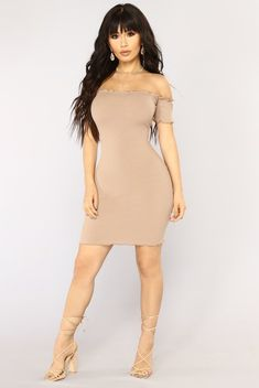 Hermoine Ribbed Dress - Taupe
