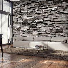 High wall Interior - Photo Wallpaper Wall Murals Non Woven Modern Art Optical Illusion Brick Stone Effect Wall Decals Bedroom Decor Home Design Wall Art 3d Interior Design, Stone Interior, Interior Photo, Interior Exterior, Interior Walls, Stone Wallpaper, Wall Wallpaper, Photo Wallpaper, Photo Xxl