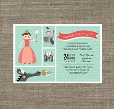 Princess and Knight Party Invitation - printable pdf - in teal blue, pink or yellow, 5th, 6th, 7th, 8th girls birthday invite