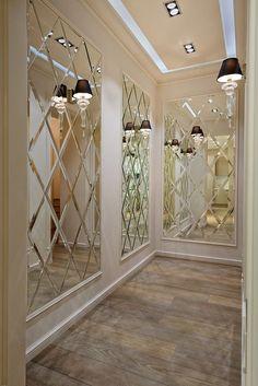 Mirrors in the interior – ideen wand Hallway Wall Decor, Hallway Walls, Hallway Decorating, Entryway Decor, Mirror Walls, Wall Mirror Ideas, Mirror Wall Decorations, Mirror On The Wall, Entrance Hall Decor