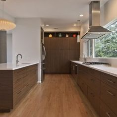[colder wood like this on cabinets is better] danish wood cabinets kitchen - Google Search