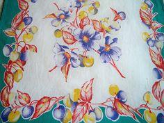 Vintage 1950s Floral Fruit Kitchen Towel Green Border by BlackRain4, $12.99