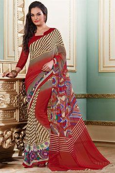 Attractive Maroon Color Printed Saree