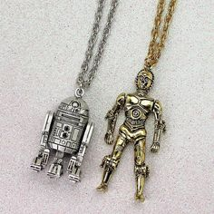 Star Wars R2-D2 and C-3PO vintage 1977 necklaces by Weingeroff