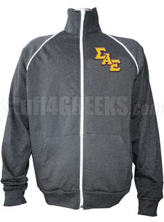 Gray Sigma Alpha Epsilon track jacket with logo letters on the left breast.