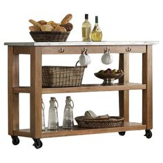 Crafted From Rubber Wood, This Versatile Serving Cart Showcases Castered  Feet And 2 Open Shelves