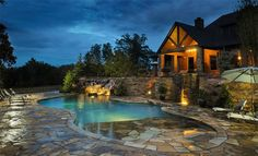 Pool Waterfall Ideas : Luxurious mediterranean stone wall pool with patio furniture with outdoor fireplace with stone fireplace and stone pool trim. Outdoor chair pool with water feature with hot tub. Zero Entry Pool, Beach Entry Pool, Walk In Pool, My Pool, Pool Fun, Swimming Pool Decks, Swimming Pool Designs, Lap Pools, Indoor Pools