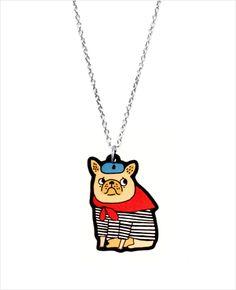 french bulldog necklace (gemma correll)
