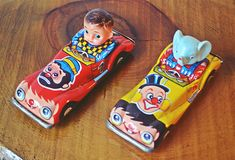 Two Vintage Friction Powered Comic Cars, One Tin Litho Friction Penny Toy Crown Car Yellow Bowls, Star Show, Tin Toys, Vintage Toys, Elephant, My Etsy Shop, Crown, Cars, Comics