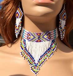 Handmade beaded White necklace earrings set - DIY and Crafts Native American Dress, Native American Beading, Native American Jewelry, Beaded Necklace Patterns, Beaded Choker, Beaded Necklaces, Seed Bead Jewelry, Seed Bead Earrings, Craft Jewelry