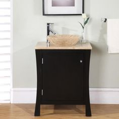 This single-sink bathroom vanity has an elegant design perfect for a small bathroom or powder room. This cabinet vanity has one door which opens to reveal a shelf and drawer for storage. Small Bathroom Sink Cabinet, Home Depot Bathroom Vanity, Bathroom Sink Bowls, Small Bathroom Vanities, Bathroom Vanity Cabinets, Bathroom Ideas, Bathroom Furniture, Vanity Backsplash, Bathroom Designs