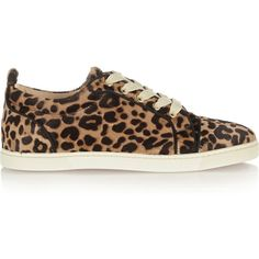69a92824e942 Christian Louboutin Gondoliere leopard-print calf hair sneakers ( 875) ❤  liked on Polyvore