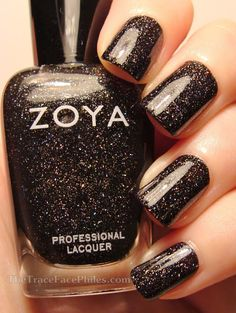 Zoya Storm - This is a black jelly packed with micro holo glitter. It looks like the black hole at the end of the rainbow. Something to stare at during those moments of boredom and awkwardness during the day to feel the mystical pull of the universe. Get Nails, Love Nails, Pretty Nails, Hair And Nails, Black Nail Polish, Zoya Nail Polish, Nail Polish Colors, Nails 2017, Instagram Nails