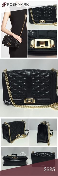 "REBECCA MINKOFF LOVE CROSSBODY BAG Authentic Rebecca Minkoff Love Crossbody in black leather w/ gold hardware. Approx 9.75""W x 6""H X 2.5""D. 22.5"" strap drop. Quilted leather. Detachable chain strap with leather inset. Flap with turnlock closure. Rear exterior slip pocket. Interior slip pocket. Dustbag not included. Excellent pre-owned condition; no visible signs of wear ❌❌NO TRADES NO PP NO EXCEPTIONS❌❌ Rebecca Minkoff Bags Crossbody Bags"