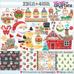 Christmas Clipart, Christmas Graphics, COMMERCIAL USE, Kawaii Clipart, Santa's Worksop, Christmas Party, Planner Accessories, Winter Clipart