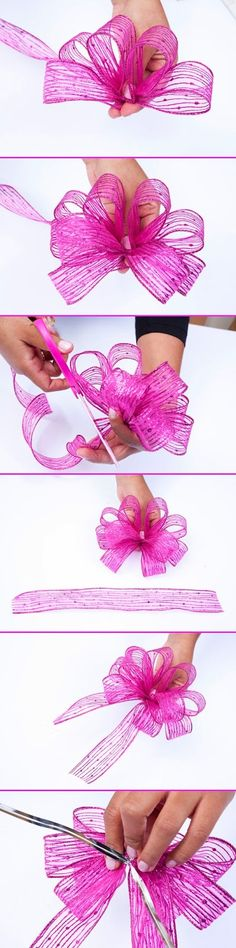 Learn how to make this pretty bow for your gifts this year- step by step pictures. #bow #giftwrap #tiebow #howtotieabow