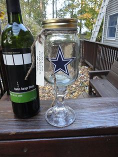 Dallas Cowboys Wineglass Redneck by WVHandmade on Etsy, $15.00