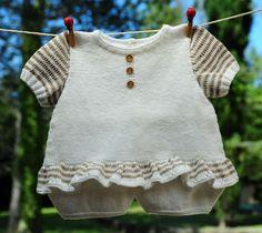 layette barboteuse coton pour petite fille de 3 mois tricotée main : Mode Bébé par com3pom