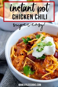 Make this AMAZING Chicken Chili right in your Instant Pot! GREAT for weeknights, easy to throw together and freezer-friendly! This recipe first appeared Tornadough Alli where I am a contributor. The instant pot is my FAVORITE Chili Recipes, Soup Recipes, Chicken Recipes, Dinner Recipes, Cooking Recipes, Kitchen Recipes, Healthy Recipes, Clean Recipes, Cooking Ideas