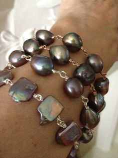 Baroque Grey Square Coin Pearl Bracelet Wire Wrapped by FMBdesigns, $130.00
