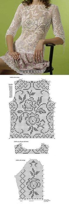 Romantic crochet top in classic filet lace. Tina's handicraft