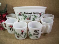 RARE Vintage 1950's Snowskiing Pattern Tom and Jerry Beverage Set Retro Hazel Atlas Barware White Milk Glass Christmas Mugs and Bowl