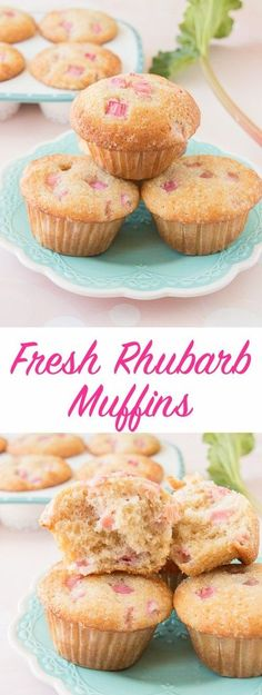 These soft and fluffy rhubarb muffins have a crunchy sweet sugar topping and just the right amount of tang. It has a lovely vanilla flavor and it's loaded with pretty pink chunks of fresh rhubarb.
