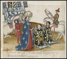 The Brabant Chronicle Brabantsche Yeesten medieval scene of nobleman dubbing knights