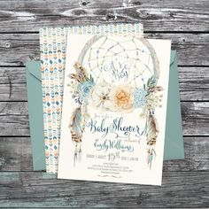 Dreamcatcher bohemian Baby Shower invitation. DIGITAL printable files. Original artwork. Customized by me with your details. Please, read the
