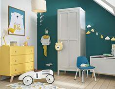cotton rug with triangle motifs 120 x 180 cm Baby Bedroom, Kids Bedroom, Pine Wardrobe, Green Furniture, Vintage Room, Vintage Stil, Bedroom Layouts, Kid Beds, Boy Room
