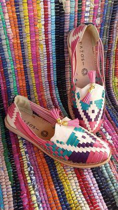 Colorful Womens Mexican Huarache Shoes by artesanoslaraza on Etsy