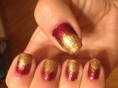 Red and gold ombré nails to show 49ers love.