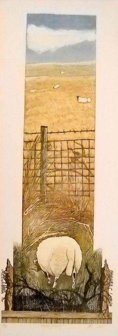 Greener grass by Barbara Robertson - Linocut Print 26 X 69cm