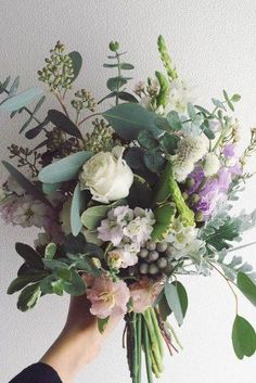 Purple Wedding Flowers - Greenery decorations are biggest wedding trend for the year Choosing green wedding florals you add more sophistication and nature to your big day. Bouquet Bride, Flower Bouquet Wedding, Floral Wedding, Trendy Wedding, Mauve Wedding, Bouquet Flowers, Wedding Centerpieces, Wedding Decorations, Wedding Ideas