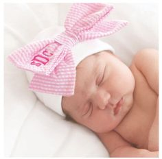 Monogrammed, Pink Seersucker Newborn Cap, Photography Ready by ExpressYourselfbySta on Etsy