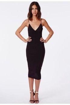Elodia Slinky Strappy Midi Dress In Black