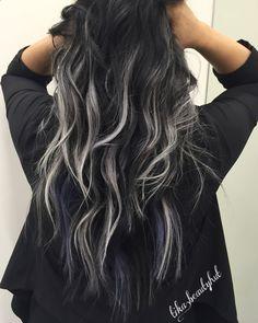 Hair Dye - black silver balayage curly hair More