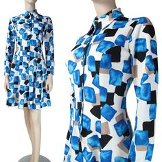 1960's Vintage Graphic Print Long Sleeved Shirt Dress from The Vintage Genie at RubyLane.com